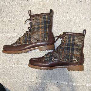 Tory Burch fur plaid brown boots 8 9 7.5 new